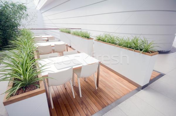 現代 レストラン インテリア 広々とした クリーン 木材 ストックフォト © photocreo