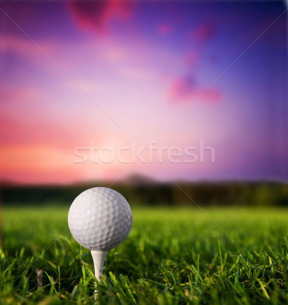 Stock photo: Golf ball on tee at sunset