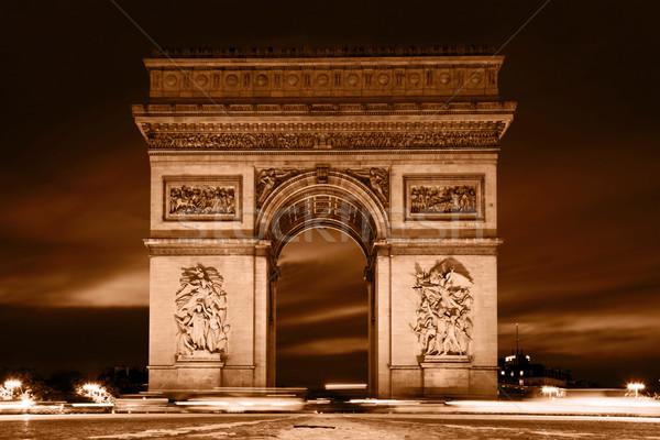 Сток-фото: Триумфальная · арка · Париж · Франция · мнение · Vintage · ретро-стиле