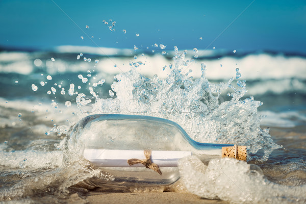 Message in the bottle coming with wave from ocean Stock photo © photocreo