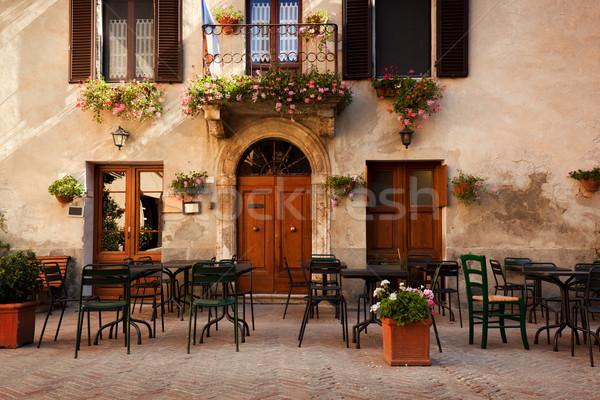 Stock photo: Retro romantic restaurant, cafe in a small Italian town. Vintage Italy