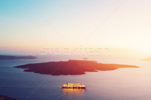 Turistica nave cruiser vela santorini Grecia Foto d'archivio © photocreo