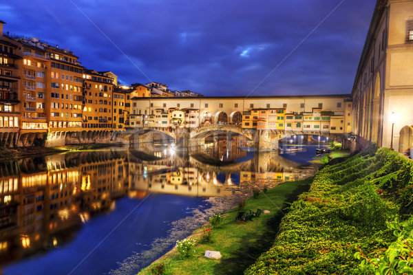 Ponte Vecchio bridge in Florence, Italy. Arno River at night Stock photo © photocreo