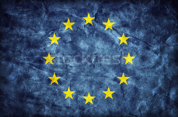 Grunge European Union flag, parchment paper texture. EU Stock photo © photocreo