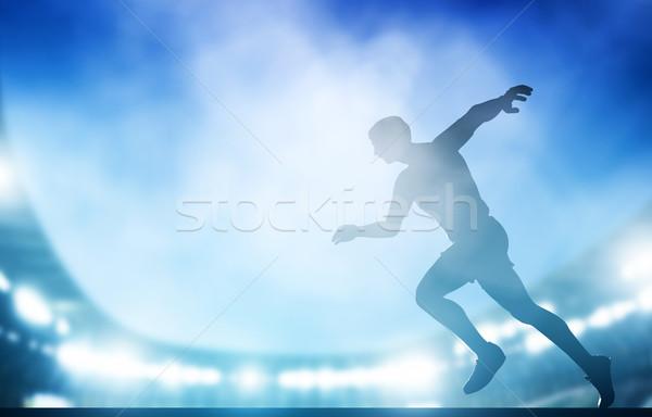 Começar correr estádio noite luzes atletismo Foto stock © photocreo
