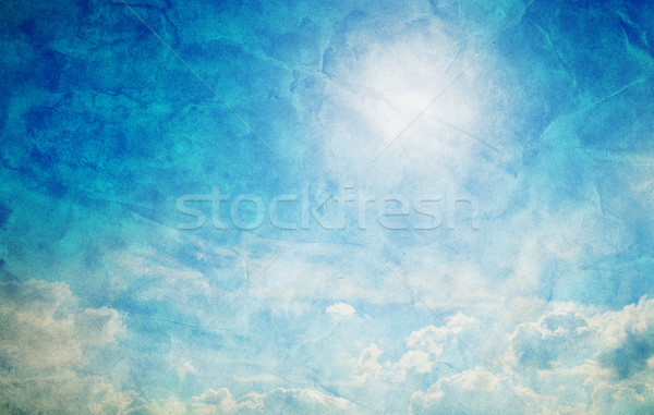 Vintage, retro image of sunny blue sky. Grunge canvas texture Stock photo © photocreo