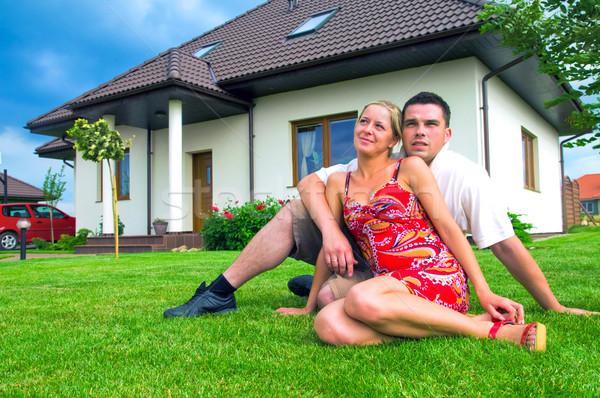 Feliz Pareja casa hombre salud seguridad Foto stock © photocreo