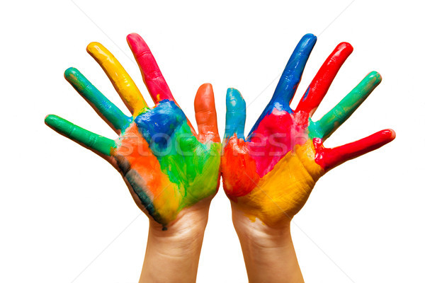 Painted hands, colorful fun. Isolated Stock photo © photocreo