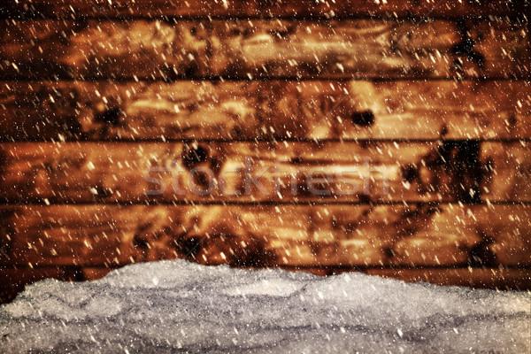Ahşap tahta kar kar fırtınası bağbozumu Stok fotoğraf © photocreo