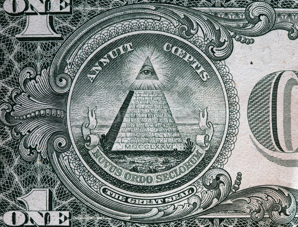 Stock photo: Annuit coeptis motto and the Eye of Providence. One dollar bill