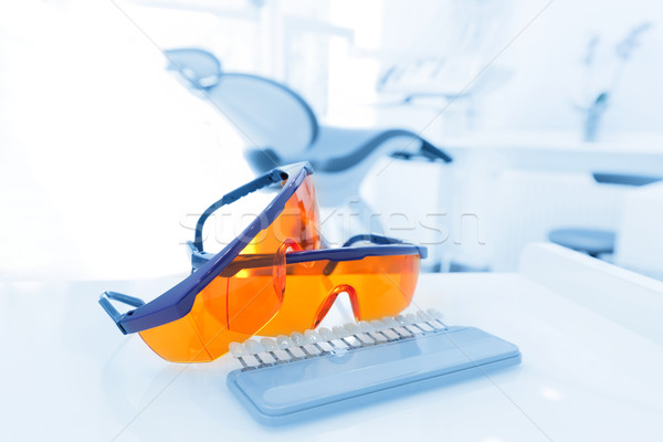 Equipment and dental instruments in dentist's office. Googles Stock photo © photocreo