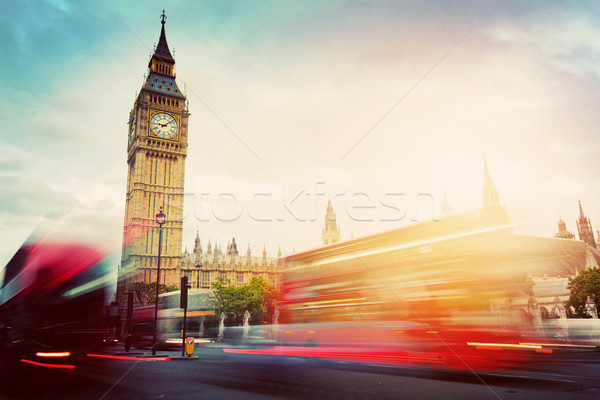 London, the UK. Red buses and Big Ben, the Palace of Westminster. Vintage Stock photo © photocreo