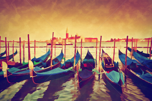 Vintage painting of Venice, Italy. Gondolas on Grand Canal  Stock photo © photocreo
