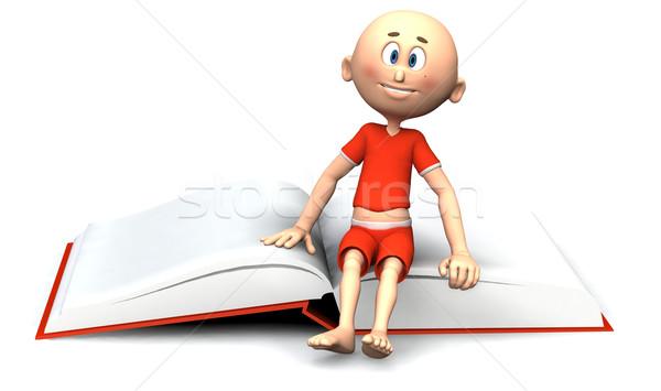 Rajzfilmkarakter fickó ül könyv kicsi kéz Stock fotó © photocreo