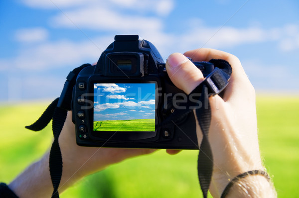 Digitale camera mooie landschap kunst zomer veld Stockfoto © photocreo