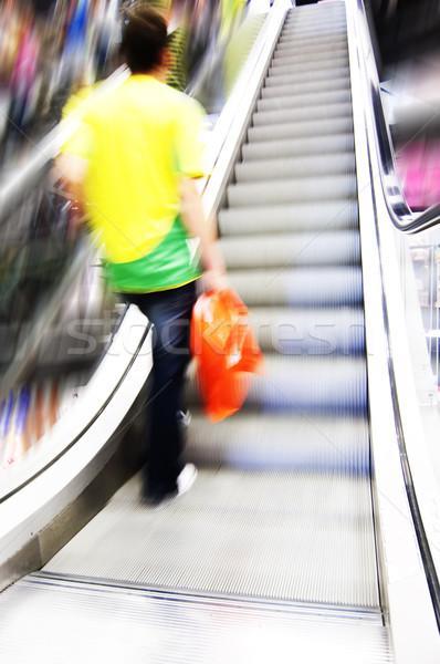 Alışveriş soyut insanlar acele yürüyen merdiven hareket Stok fotoğraf © photocreo