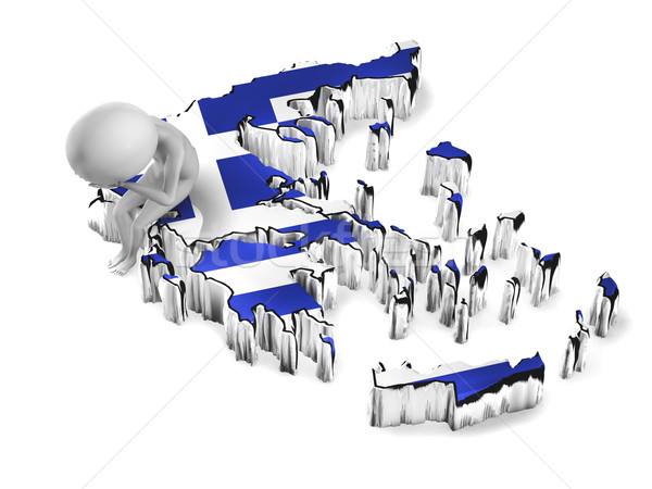 Greece crisis. 3d guy sitting on the map Stock photo © photocreo