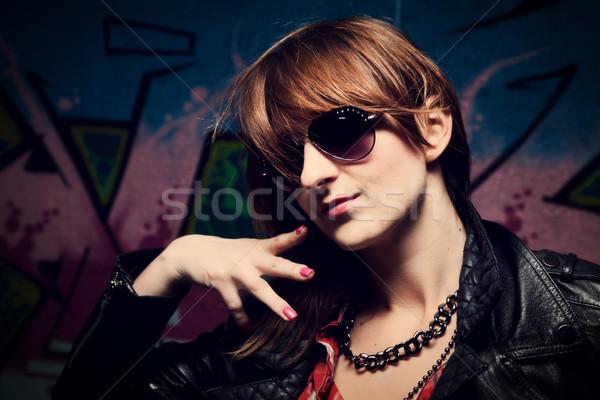 модный девушки красочный граффити стены Сток-фото © photocreo