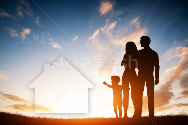 Foto stock: Familia · sueno · casa · nino · padres