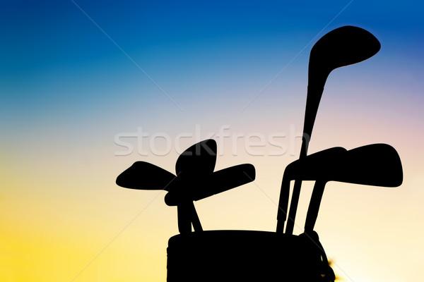 Photo stock: Golf · équipement · coucher · du · soleil · silhouette · professionnels · bagages