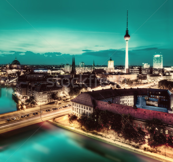 Berlin, Germany major landmarks at night Stock photo © photocreo