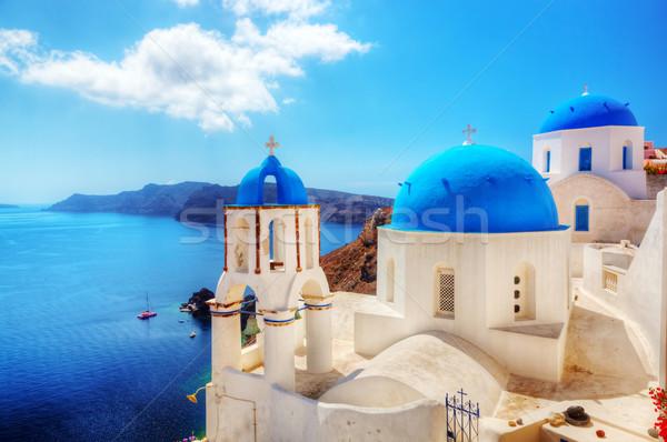Oia town on Santorini island, Greece. Aegean sea Stock photo © photocreo