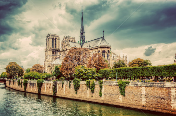 Notre Dame Cathedral in Paris, France and the Seine river. Stock photo © photocreo
