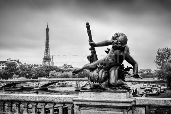 Stok fotoğraf: Heykel · köprü · Paris · Fransa · nehir · Eyfel · Kulesi