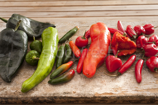 Large selection of fresh chili peppers Stock photo © photohome