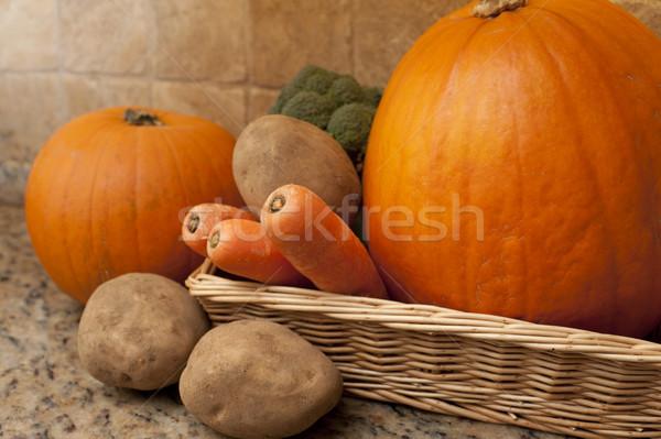 Prostokątny koszyka zimą warzyw wiklina marchew Zdjęcia stock © photohome