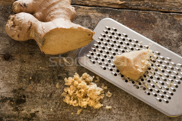 Fresh ginger root and grater Stock photo © photohome