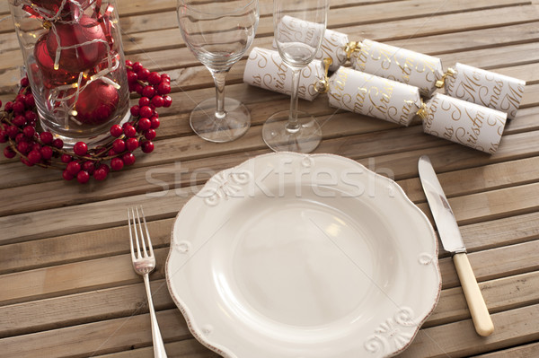 Overhead view of place setting with classic plate Stock photo © photohome