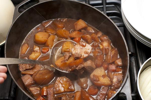 Lezzetli sığır eti güveç pot havuç patates zengin Stok fotoğraf © photohome