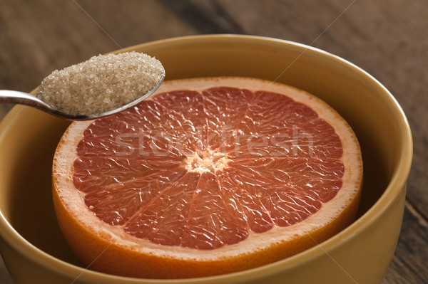 Close up of spoon with sugar and grapefruit Stock photo © photohome