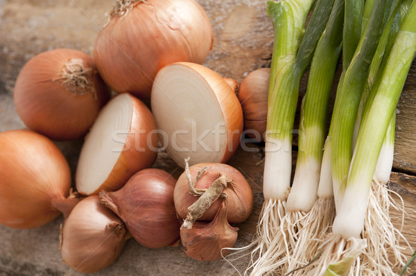 Fresh brown onions with scallions Stock photo © photohome