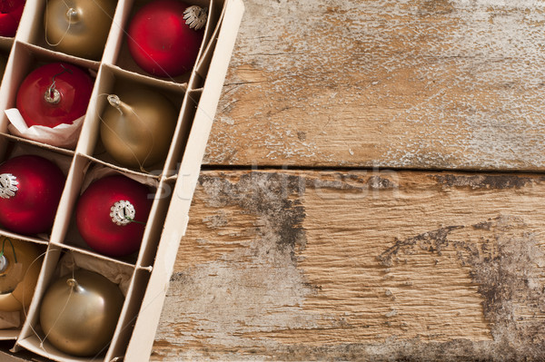 Box of packaged gold and red Xmas ornaments Stock photo © photohome