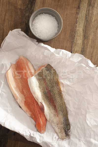 Rainbow Trout Meat on a Table with Salt Stock photo © photohome