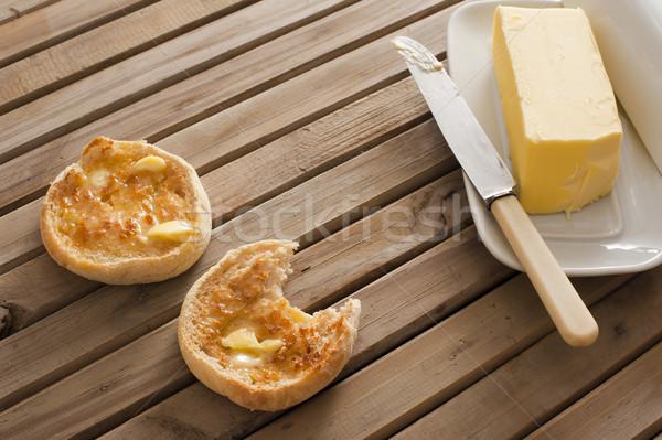 Reggeli vaj tányér felszolgált fa asztal egy Stock fotó © photohome