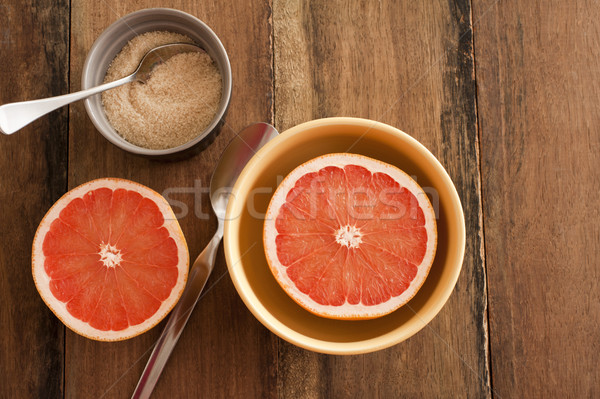 Fresh halved pink grapefruit with sugar Stock photo © photohome