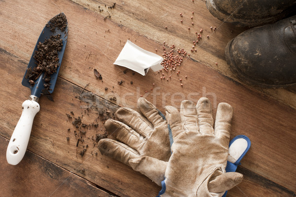 Wood floor strewn with gardening supplies Stock photo © photohome