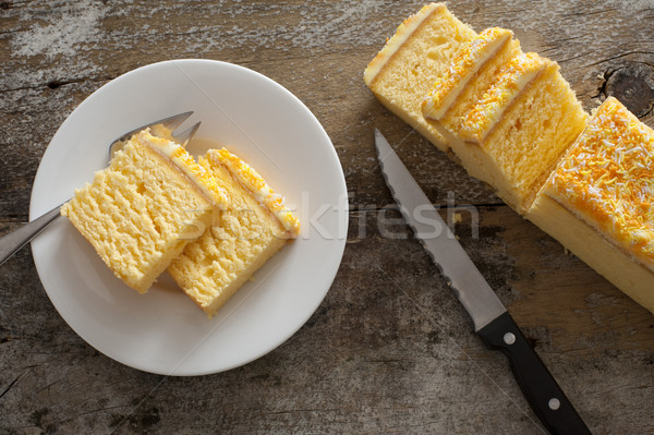 Overhead view of mouth watering yellow cake Stock photo © photohome