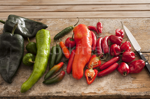 Variety of different chili peppers in a kitchen Stock photo © photohome