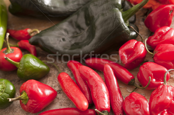 Assorted varieties of chili peppers Stock photo © photohome
