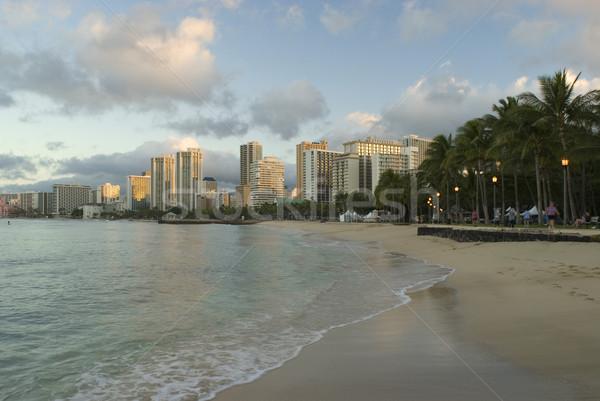 Waikiki tengerpart Honolulu hullámok híres Hawaii Stock fotó © photohome
