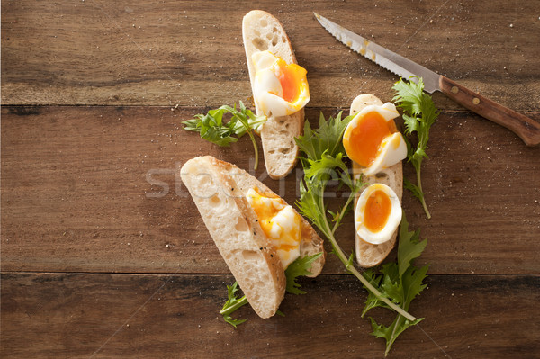 Suave huevos frescos baguette Foto stock © photohome
