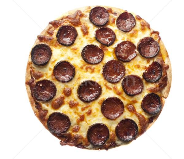 Stock fotó: Pepperoni · pizza · sajt · kolbász · izolált · fehér