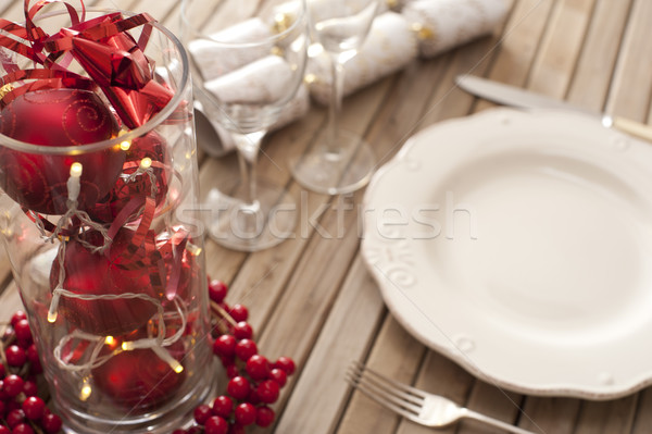 Christmas place setting with red decorations Stock photo © photohome
