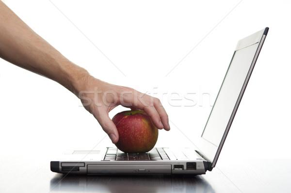 Ordenador educación mano fuera toma manzana Foto stock © photohome