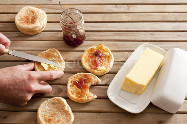 English muffins with butter and jelly spread Stock photo © photohome