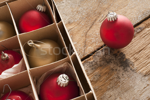 Red and gold Christmas baubles in a box Stock photo © photohome